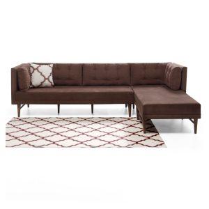 كنبة مع أريكة إسترخاء لون بني