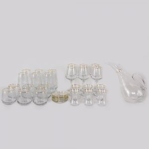 طقم تقديم مشروبات زجاجي 31 قطعة ذهبي