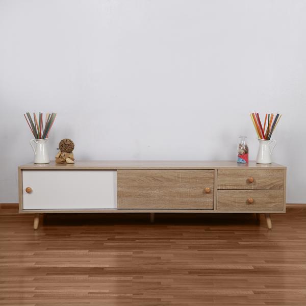 طاولة تلفاز موديل سمات لون خشبي وأبيض صناعة خشبية