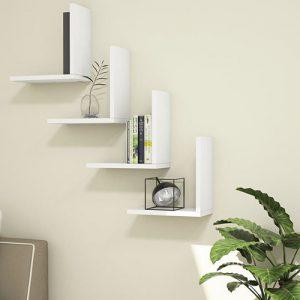 رفوف حائط موديل سيت زاوية قائمة أربعة قطع لون أبيض
