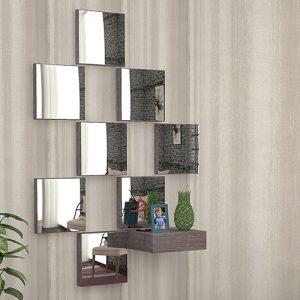 مدخل بمرآة موديل بست صناعة خشبية لون بني