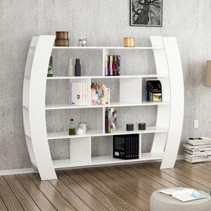 زانة متعددة للكتب موديل هيليك 2 صناعة خشبية لون أبيض