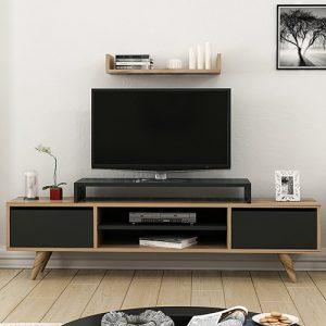 طاولة تلفاز موديل ميلز صناعة خشبية لون بني وأسود