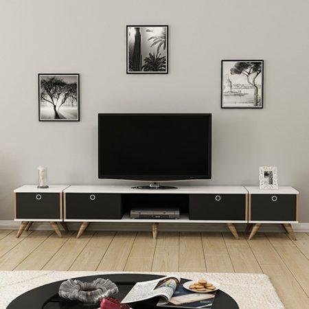 طاولة تلفاز مع طاولات جانبية موديل زين B صناعة خشبية