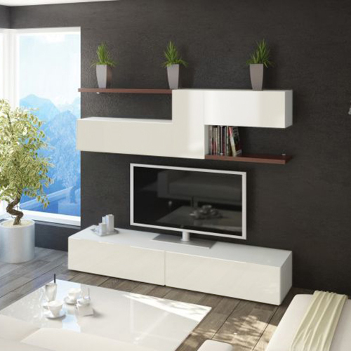 طاولة تلفاز موديل نيتارا مع وحدات تخزين صناعة خشبية