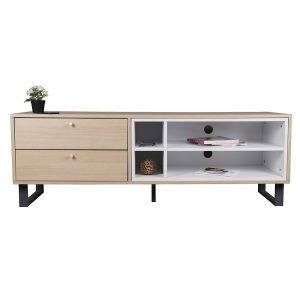 طاولة تلفاز موديل بارت بأدراج تخزين لون خشبي وأبيض صناعة خشبية