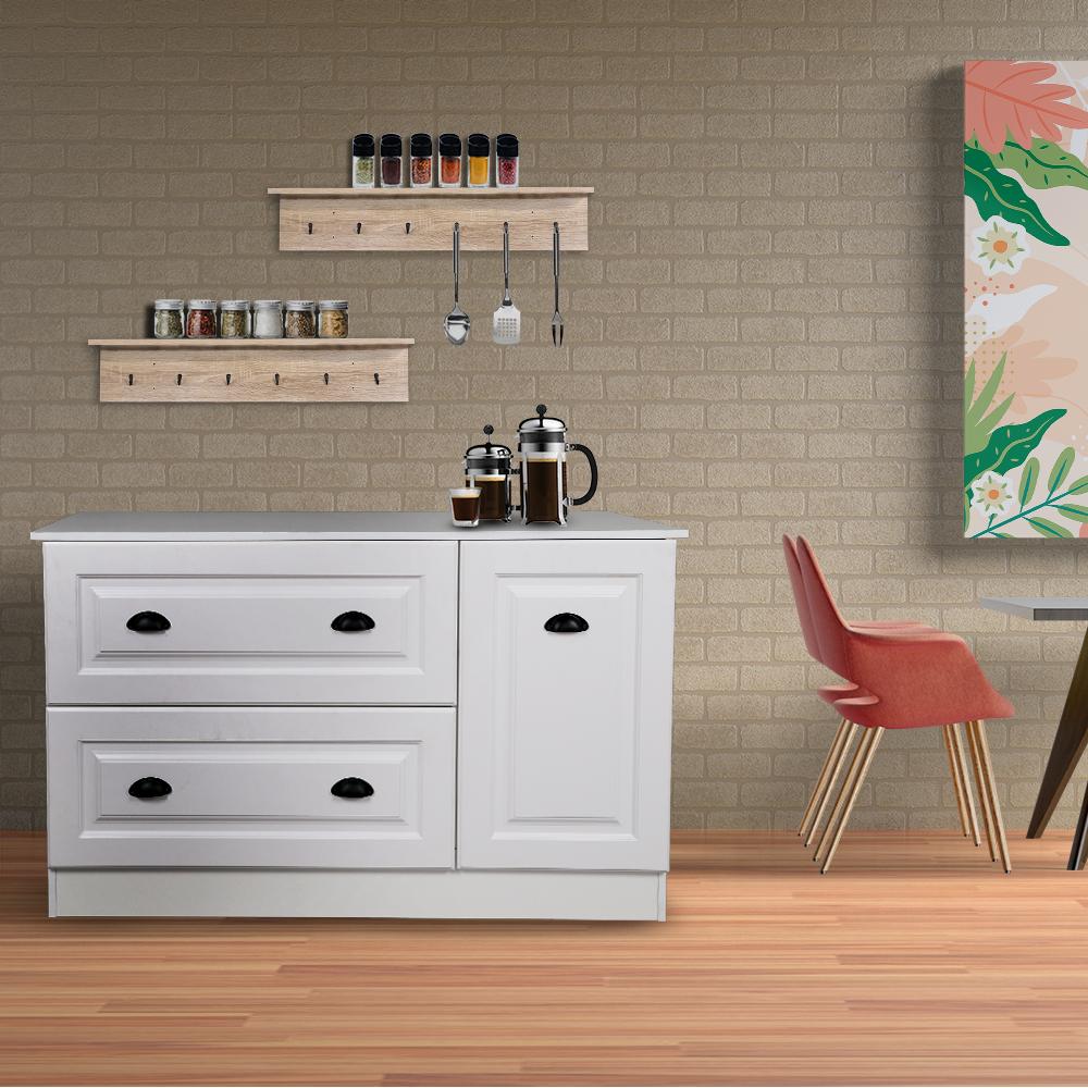 ركن القهوة بأدراج تخزين موديل أريزون لون أبيض صناعة خشبية