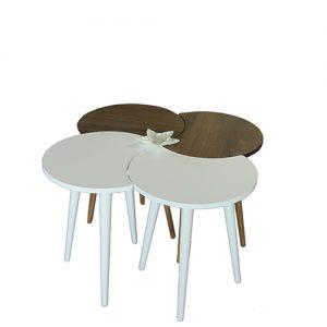 طاولة قهوة موديل تروفا أبيض وبني صناعة خشبية بأرجل من خشب الزان 4 قطع