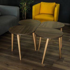 4 طاولات قهوة خشبية