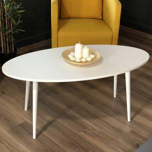 طاولة قهوة موديل أرتولي أبيض صناعة خشبية بأرجل من خشب الزان