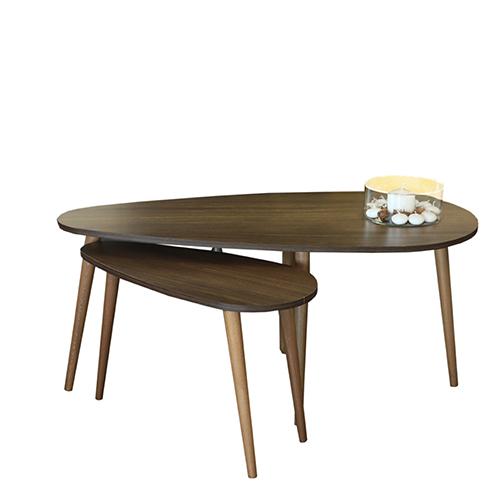 طاولة قهوة موديل تروي بني عدد 2 صناعة خشبية بأرجل من خشب الزان
