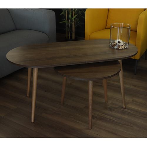 ديكور جميل لطاولة قهوة خشبية لون بني