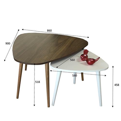 قياسات طاولة قهوة بني وأبيض
