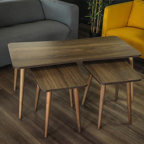 طاولات قهوة خشبية لون بني من الزان