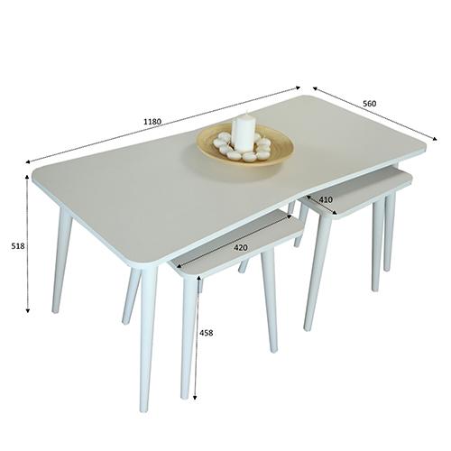 أبعاد ومقاسات طاولة قهوة خشبية لون أبيض