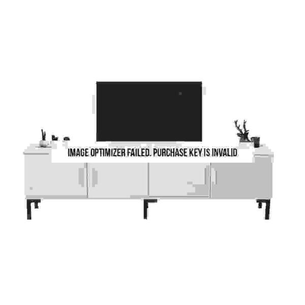 طاولة تلفاز بوحدات تخزين موديل تريسكو صناعة خشبية وأرجل حديدية لون أبيض وأسود