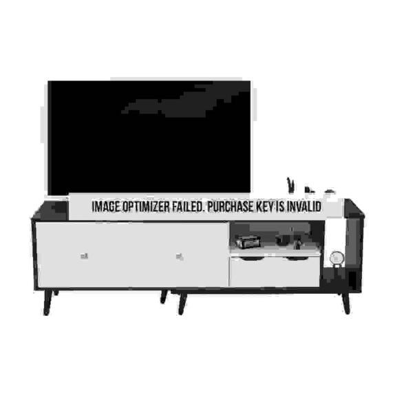 طاولة تلفاز بأدراج ووحدات تخزين موديل كوناكرى صناعة خشبية أبيض وأسود