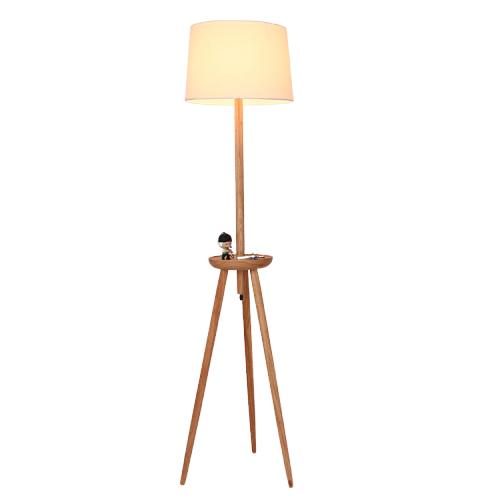 أباجورة أرضية بطاولة صغيرة موديل لايت قاعدة خشبية وغطاء من قماش الكتان