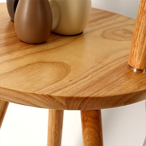أباجورة أرضية بطاولة خشبية موديل كيرف قاعدة خشبية وغطاء من الكتان