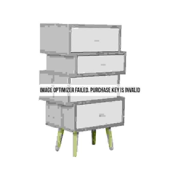 طاولة جانبية موديل فور بأربعة أدراج تخزين لون أبيض وخشبي