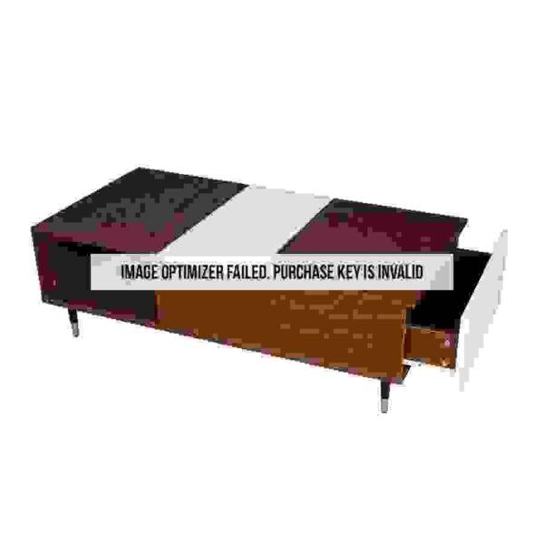 طاولة قهوة موديل ناين صناعة خشبية لون بني وأبيض بأرجل حديدية