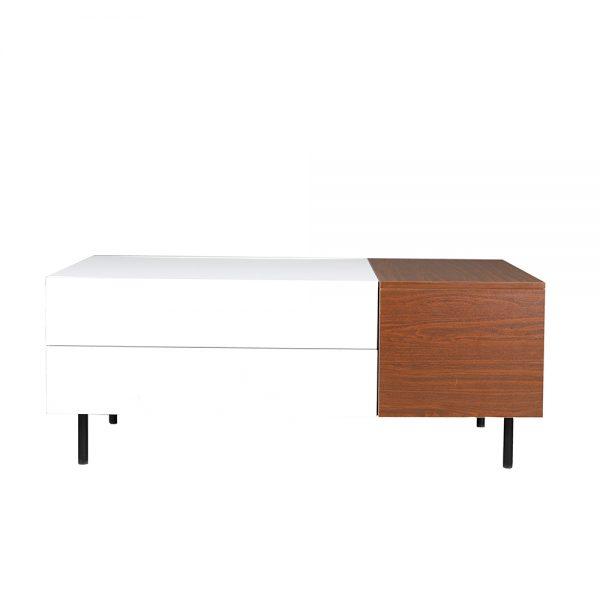 خلفية بيضاء لطاولة قهوة موديل فورتي صناعة خشبية لون بني وأبيض بأرجل حديدية
