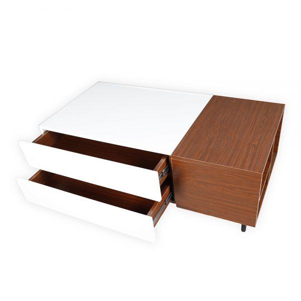 شكل جميل لطاولة قهوة موديل فورتي صناعة خشبية لون بني وأبيض بأرجل حديدية لون أسود