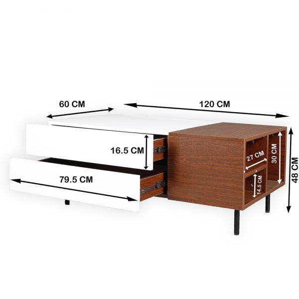 مقاسات طاولة قهوة موديل فورتي صناعة خشبية لون بني وأبيض بأرجل حديدية