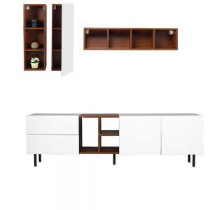 طاولة تلفاز موديل فورتي بأرفف ووحدات تخزين صناعة خشبية لون بني وأبيض