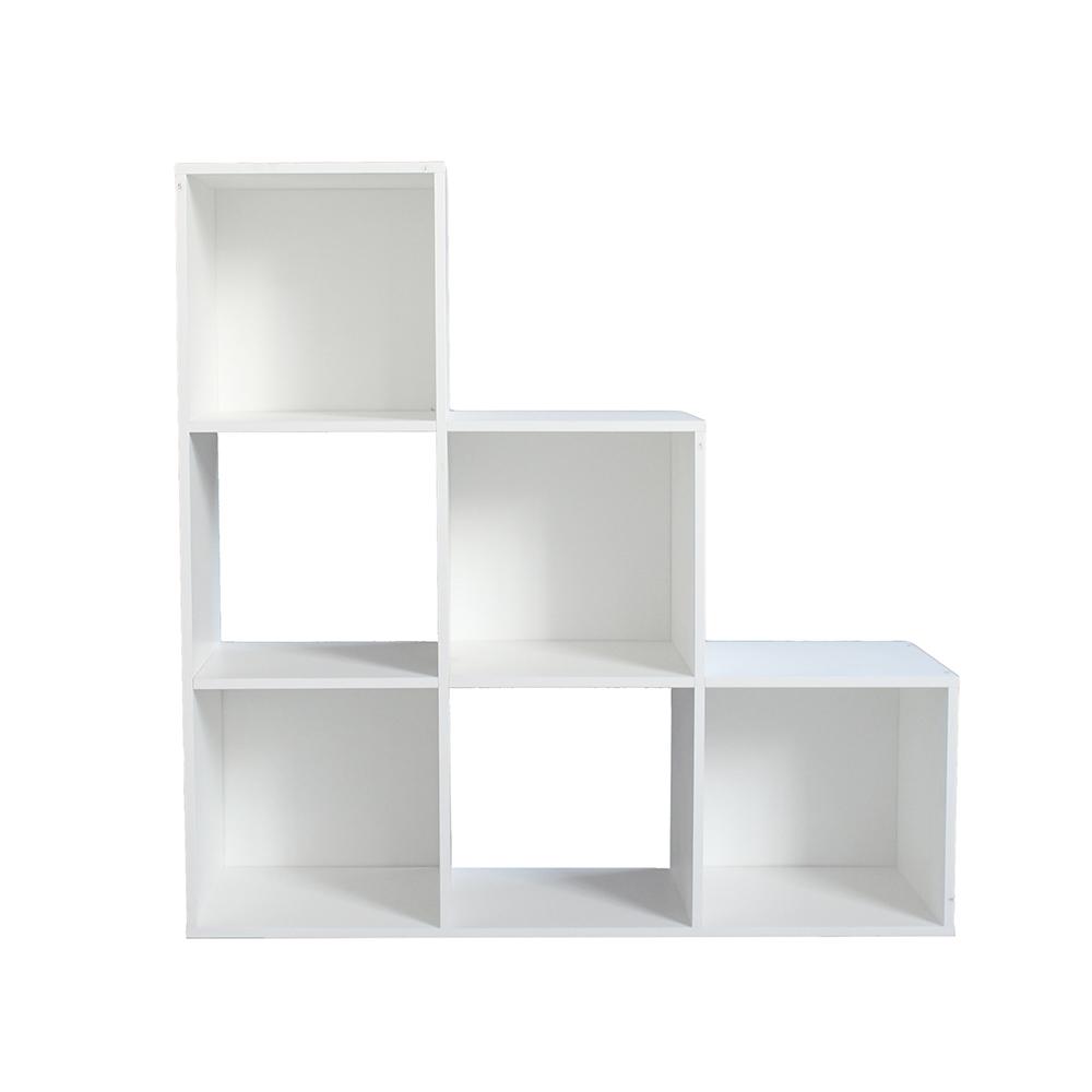 خزانة مفتوحة للكتب موديل ريتشي بشكل مدرج ثلاثي تحتوي تسعة أرفف