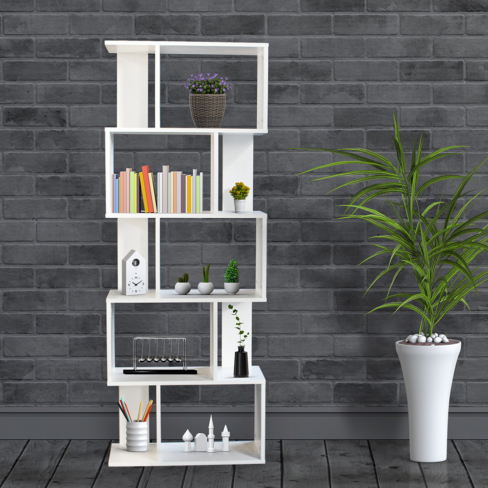 ديكور خزانة مفتوحة للكتب موديل بيرس شكل جميل عدد ستة أرفف لون أبيض