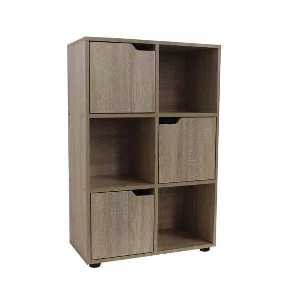 خزانة متعددة الاستخدام موديل سولي بستة وحدات تخزين صناعة خشبية لون بني