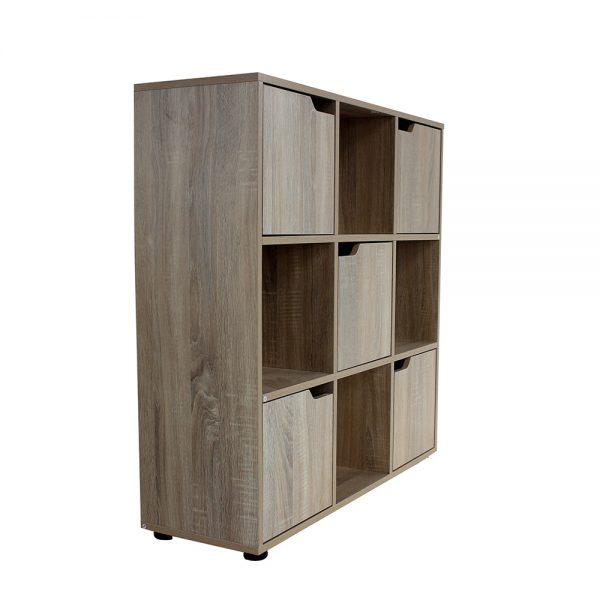 خزانة للكتب موديل كامب بتسعة وحدات تخزين صناعة خشبية لون بني