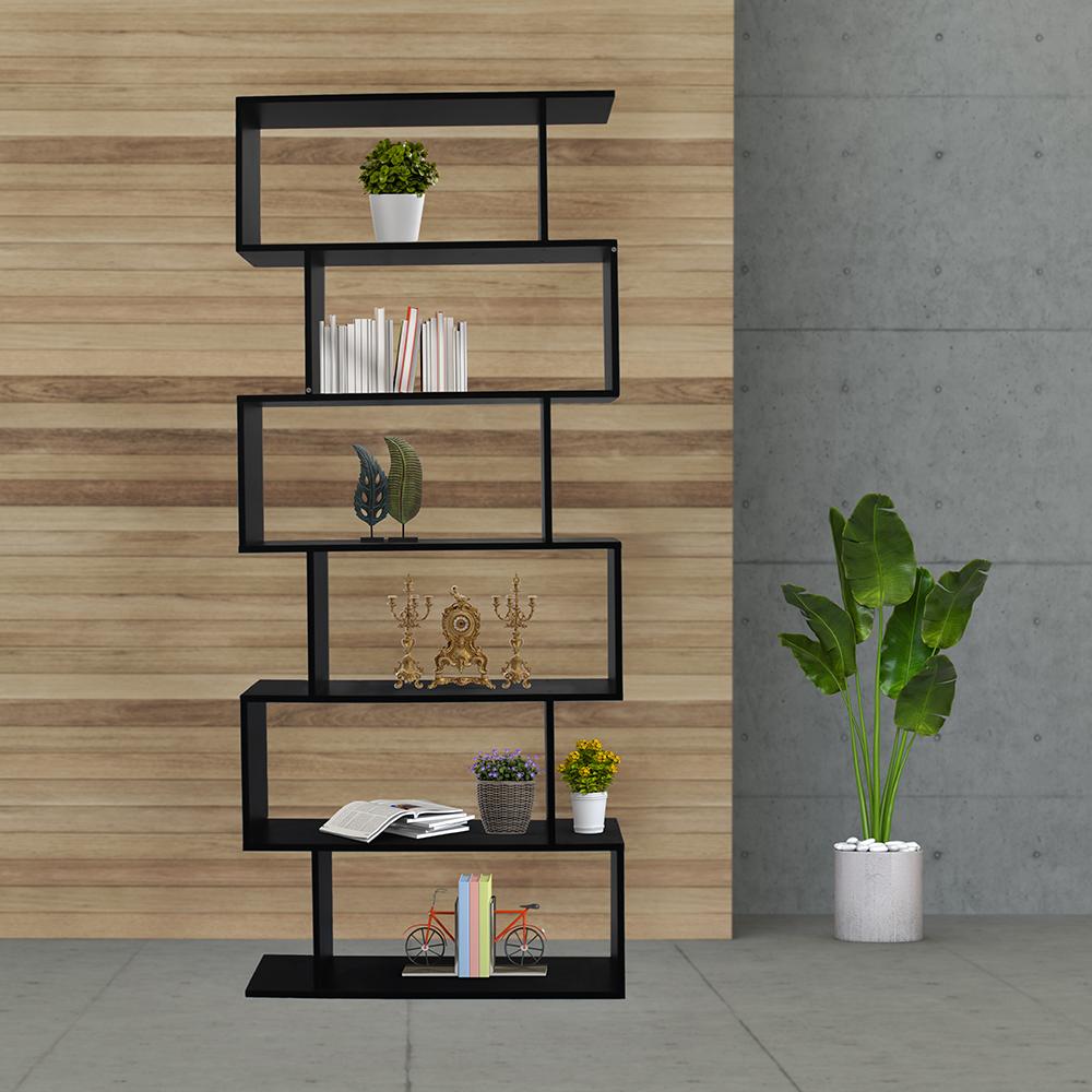 ديكور خزانة مفتوحة للكتب موديل أوريون مصنوعة من الخشب شكل مموج