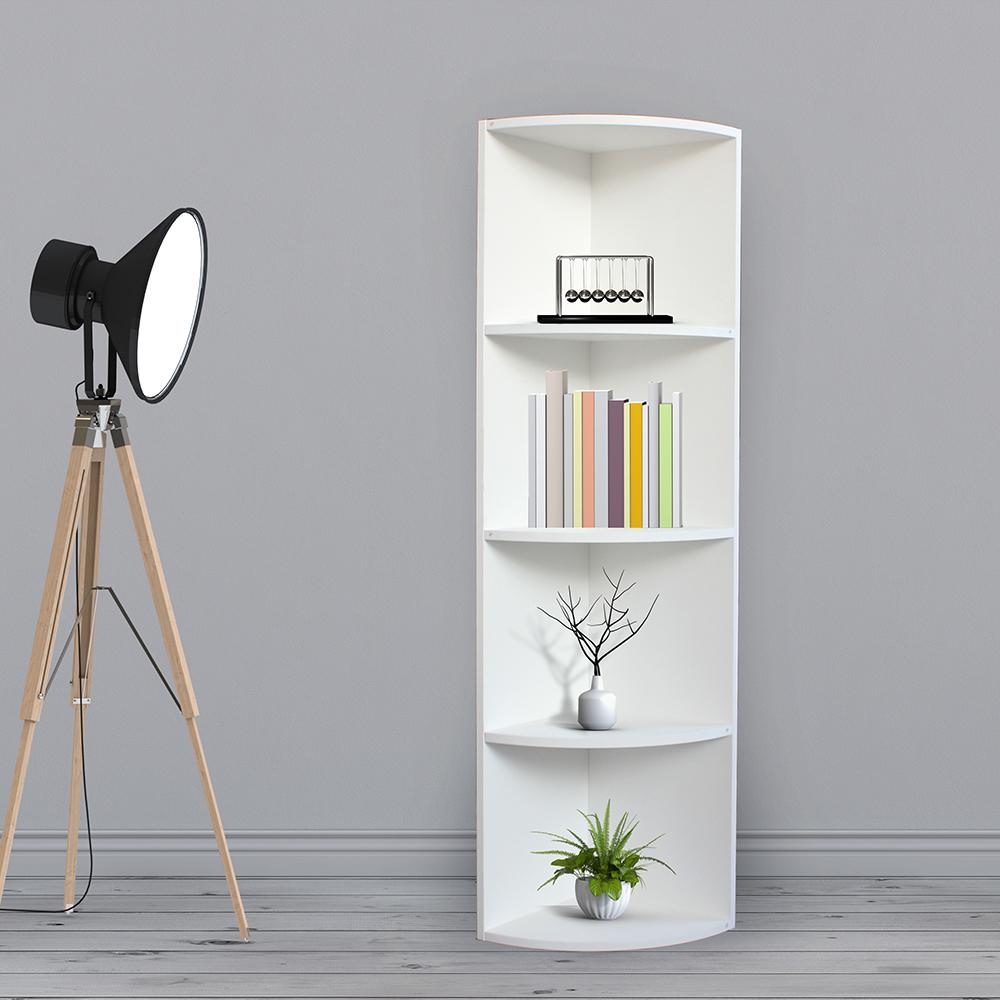 ديكور خزانة مفتوحة للكتب موديل دلتا مصنوعة من الخشب شكل نصف أسطواني