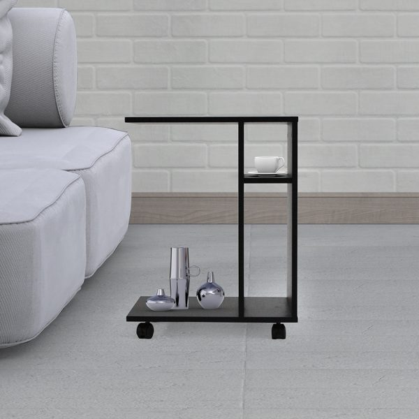 ديكور طاولة جانبية موديل ديبارو بعجلات متحركة 3 وحدات تخزين و4 أرفف