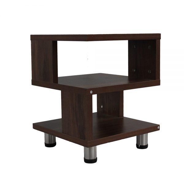 طاولة تخزين جانبية موديل فيرلو مصنوعة من الخشب بأرجل ألمونيوم 3 أرفف