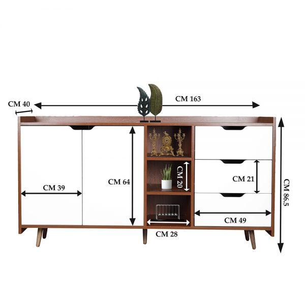 مقاسات خزانة متعددة الأغراض موديل سبورت بـ 3 أدرج وعدد من وحدات التخزين