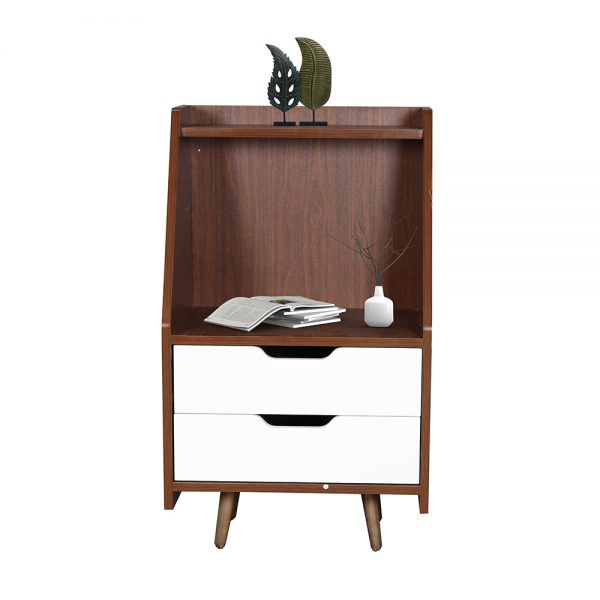 خزانة جانبية موديل سبورت بدرجين وسطح ورف خشبي لون بني وأبيض