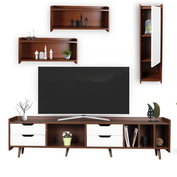 طاولة تلفاز موديل سبورت بأرفف ووحدات تخزين لون بني وأبيض