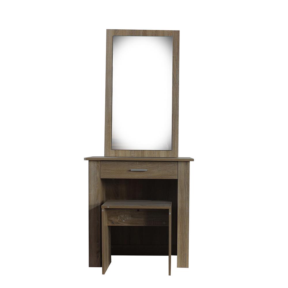 تسريحة موديل نيو كاريزما بمرآة سحابة مع خزانة ودرج ومقعد خشبي لون بني