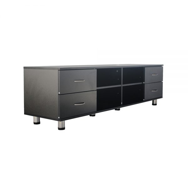 طاولة تلفاز موديل هايير ب 4 أدارج و4 وحدات تخزين لون أسود