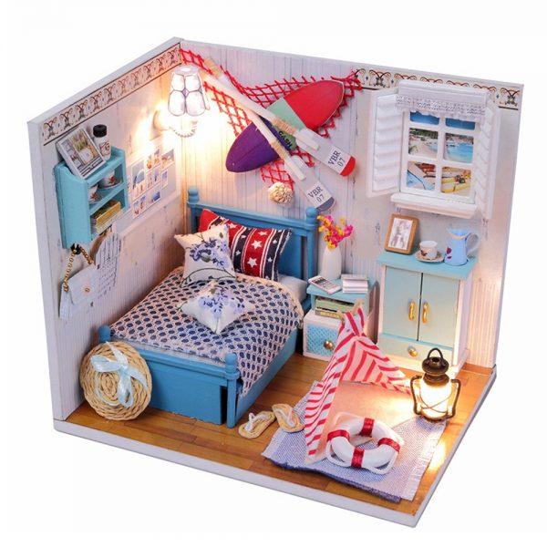 مجسم تركيب موديل هاوس تو محاكاة تركيب غرفة نوم جميلة بإضاءة ليد