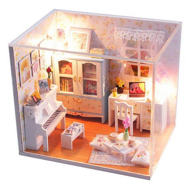مجسم تركيب موديل هاوس ثري محاكاة تركيب غرفة دراسة جميلة بإضاءة ليد