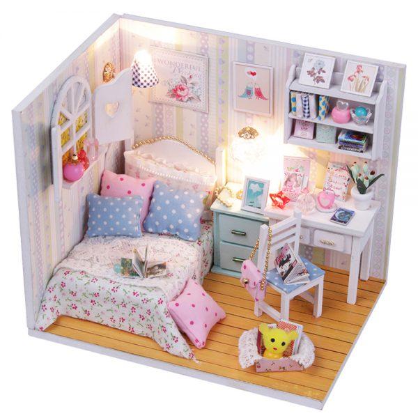 مجسم تركيب موديل هاوس فايف محاكاة تركيب غرفة نوم جميلة بإضاءة ليد