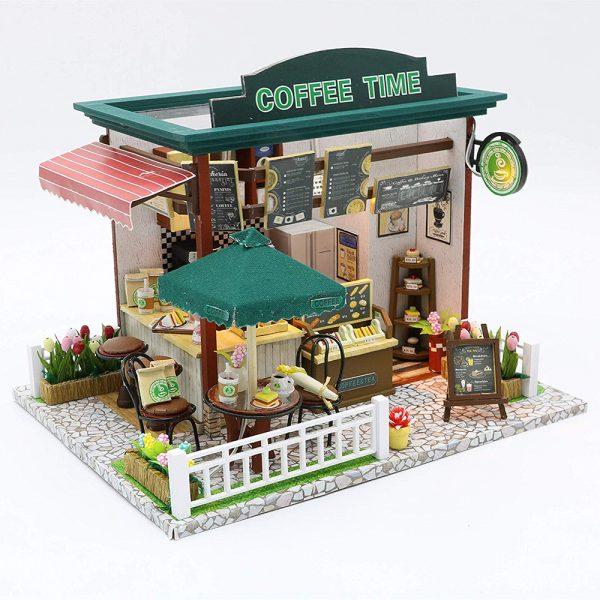 مجسم تركيب موديل كفي تايم محاكاة تركيب متجر قهوة جميل بإضاءة ليد