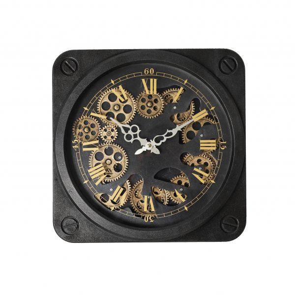 ساعة حائط موديل نايت تايم شكل مربع صناعة بلاستيكية