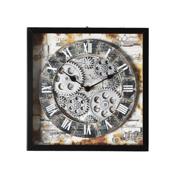 ساعة حائط أنتيكة موديل سترايت شكل مربع صناعة معدنية