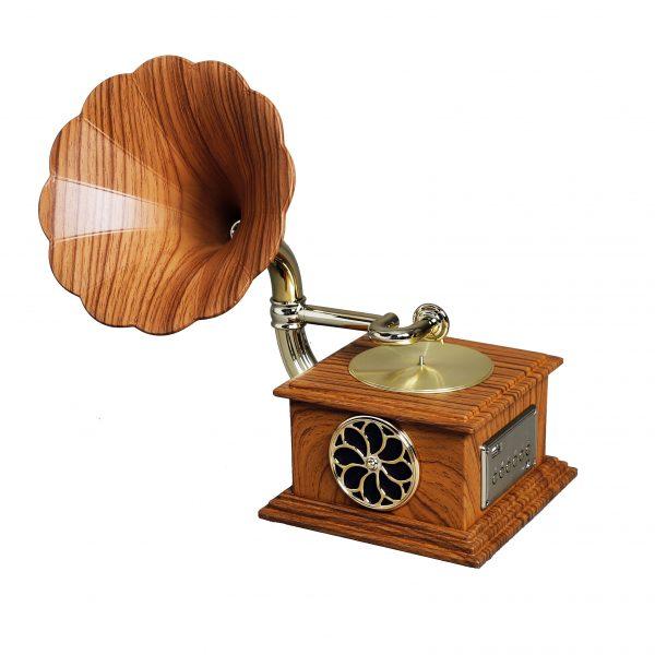 مشغل وسائط صوتية يعمل بالكهرباء شكل جرامافون أنتيكة لون خشبي