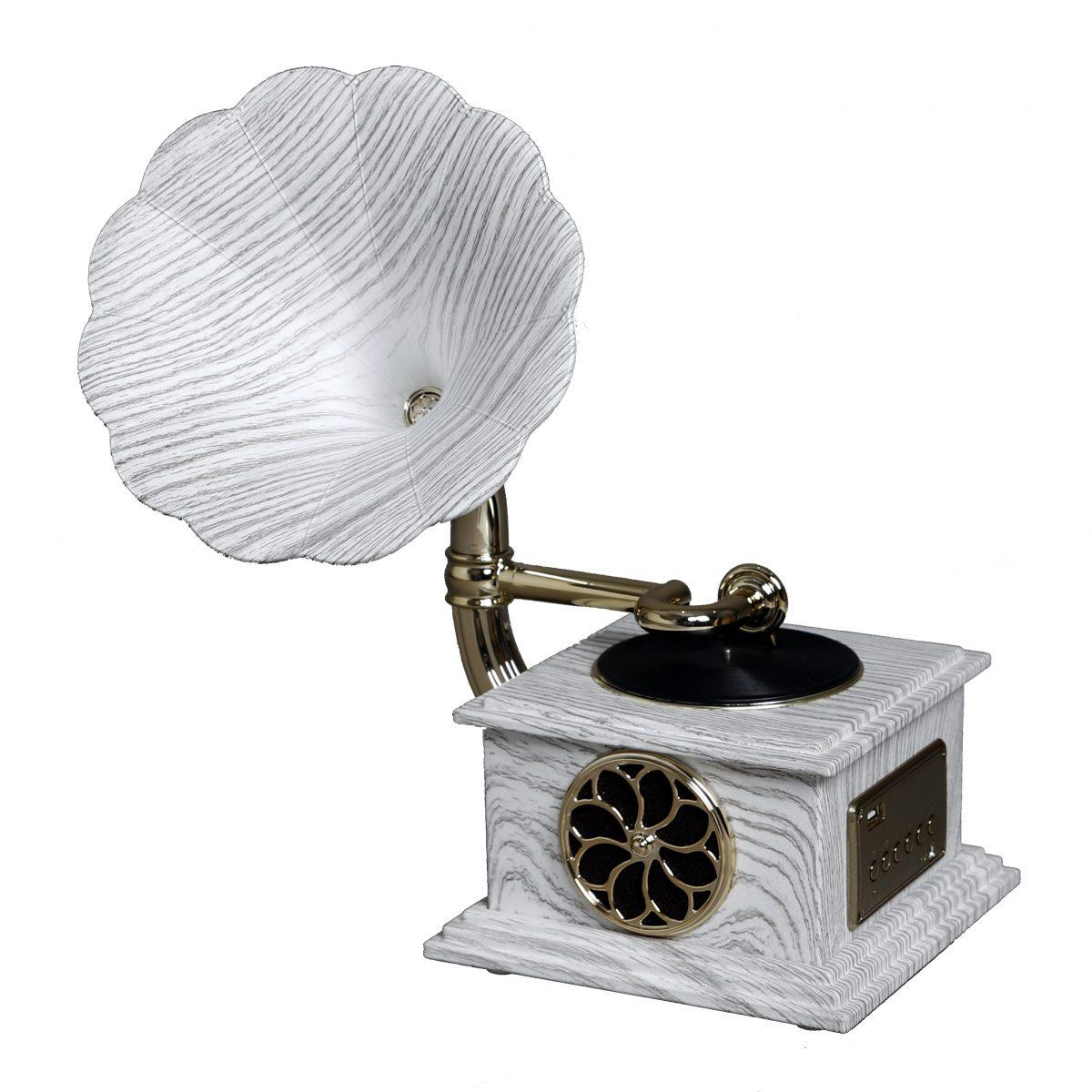 مشغل وسائط صوتية أنتيكة لون رمادي يعمل بالكهرباء شكل جرامافون